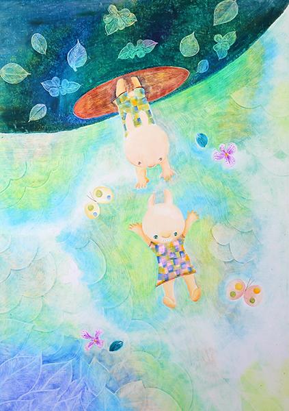 母子の絵を描く前に訪れる拝所と、色霊「常盤色」
